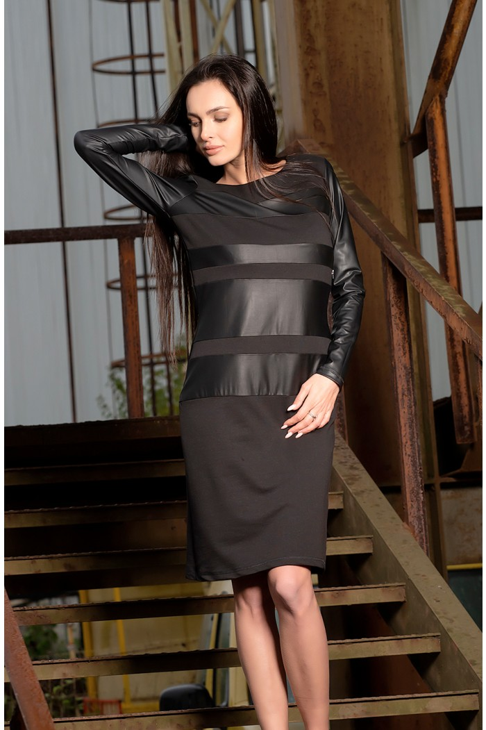 Knee length dress with leather elements Dorena