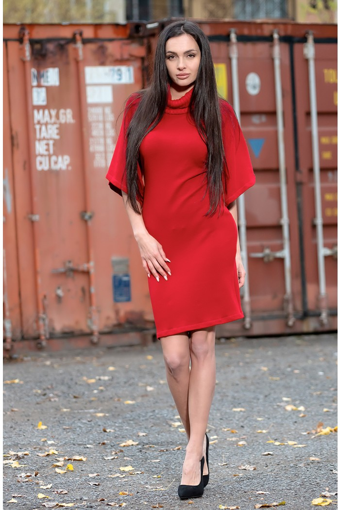 Cowl neck red dress Gery-Ani