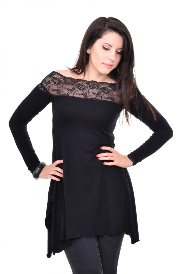 Asymmetrical black tunic Rozka
