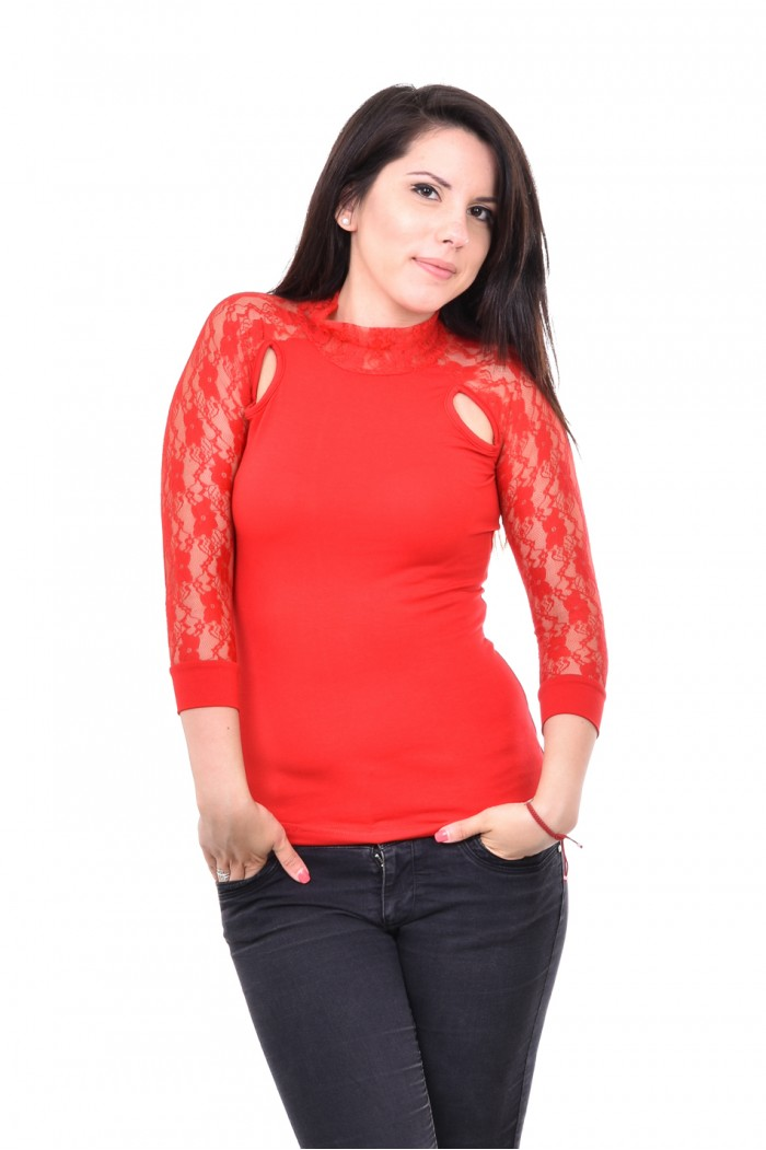 Red blouse with lace Vasilena