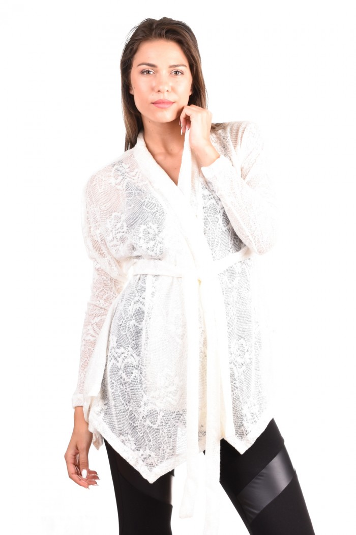 White knitted cardigan Lusiana