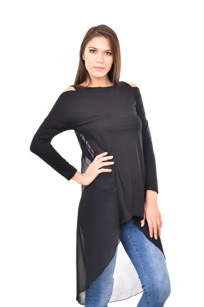 Black  tunic with cut out shoulders Nikita