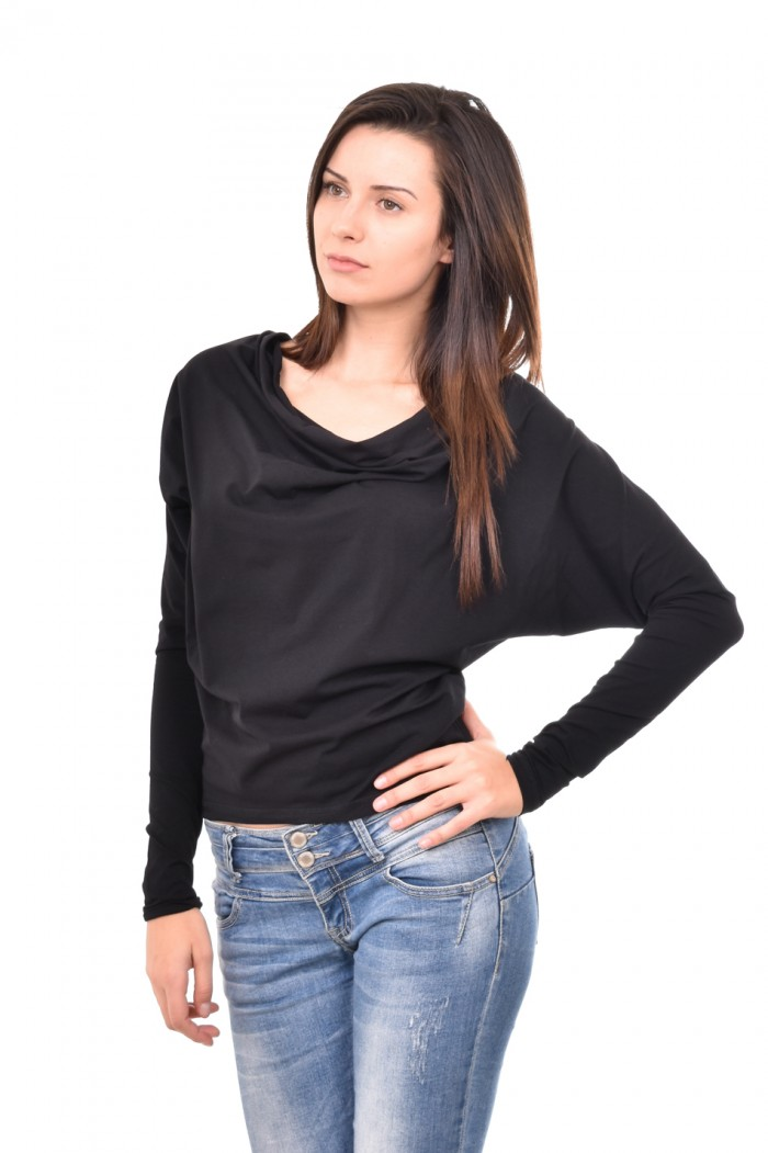 Black blouse with long sleeves Dona