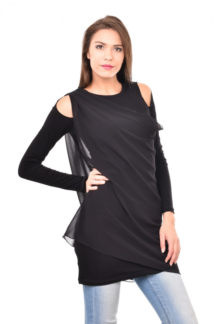 Black tunic with cut out shoulders Klarisa