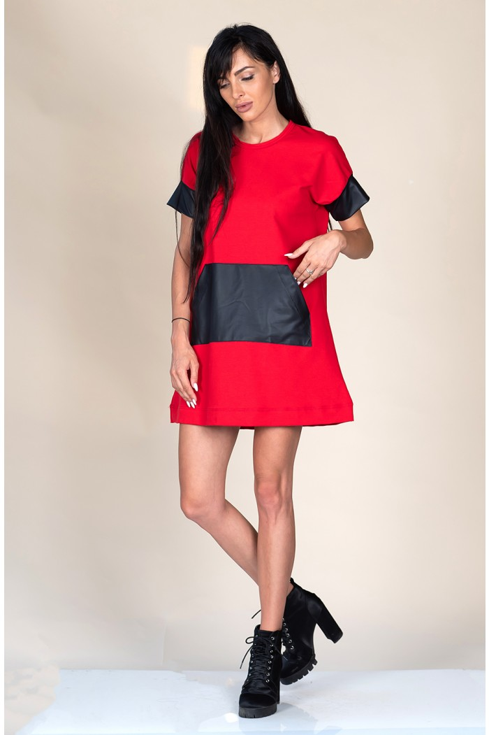 Red dress with leather details Donatela