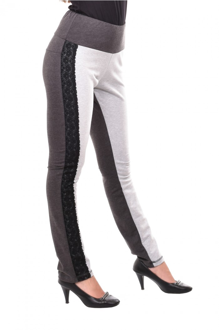 Long gray trousers with lace Dalinda