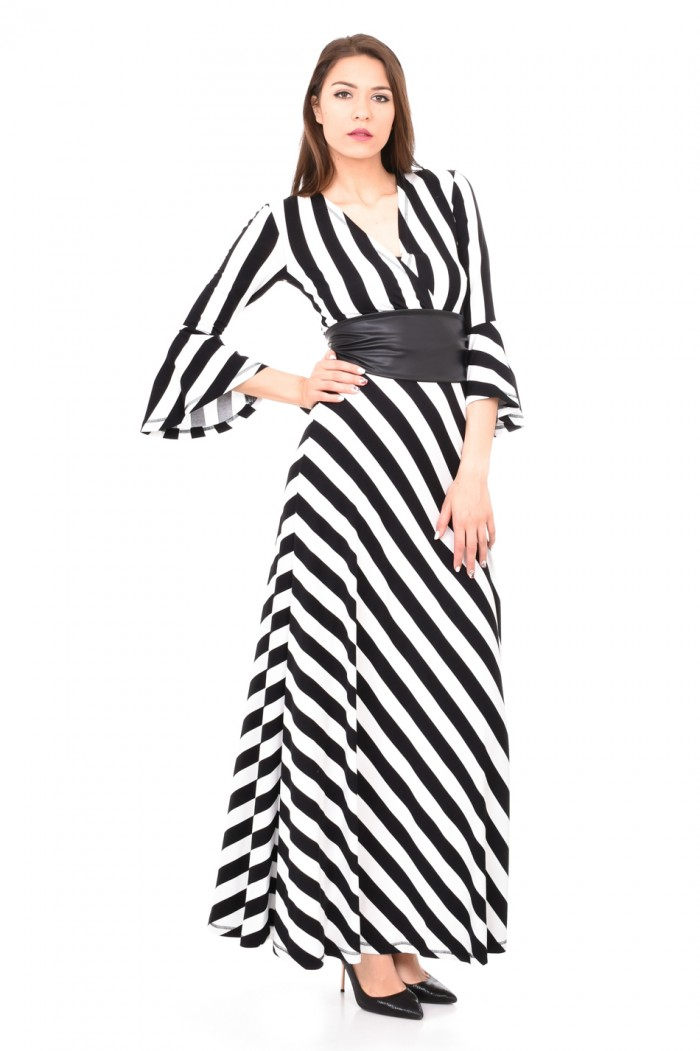 Long striped dress with leather belt Violena