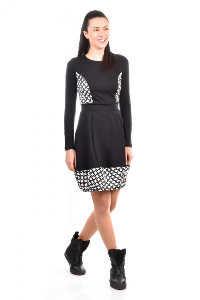Black-white stylish bell dress Yanna-Mariya