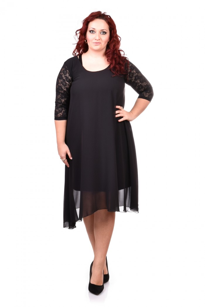 Black dress with lace and chiffon Hrisina