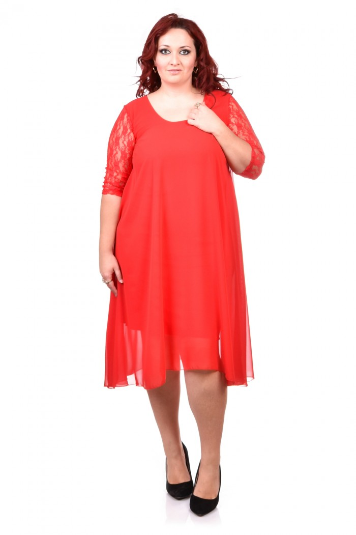 Asymmetric lace dress in red Hrisina