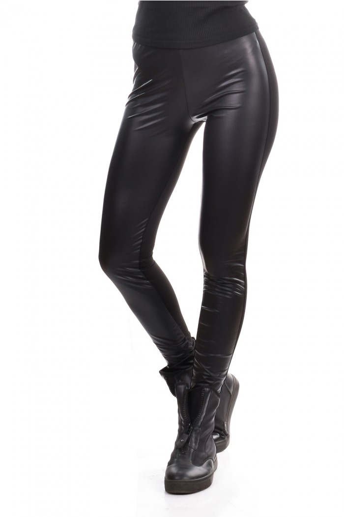 Stretch leggings with leather Narina