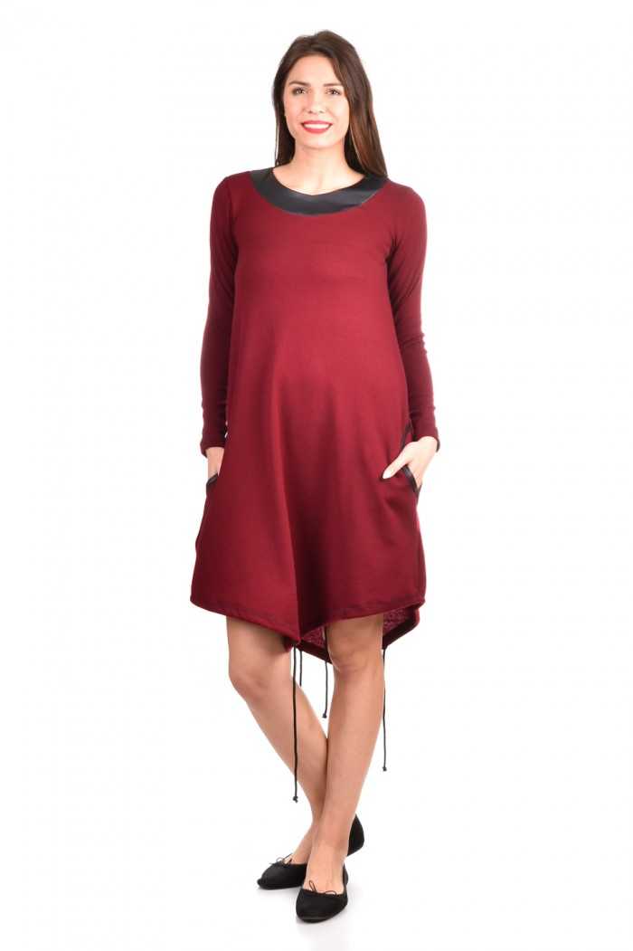 Knitted dress with leather Salinna