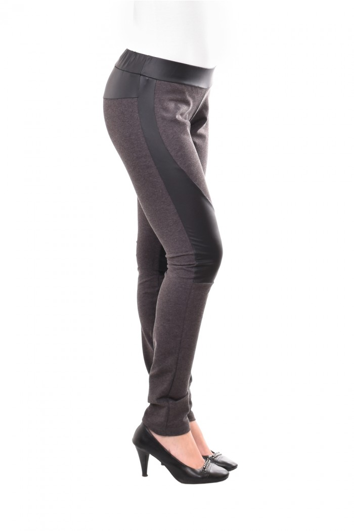 Leggings with leather in dark gray Neven