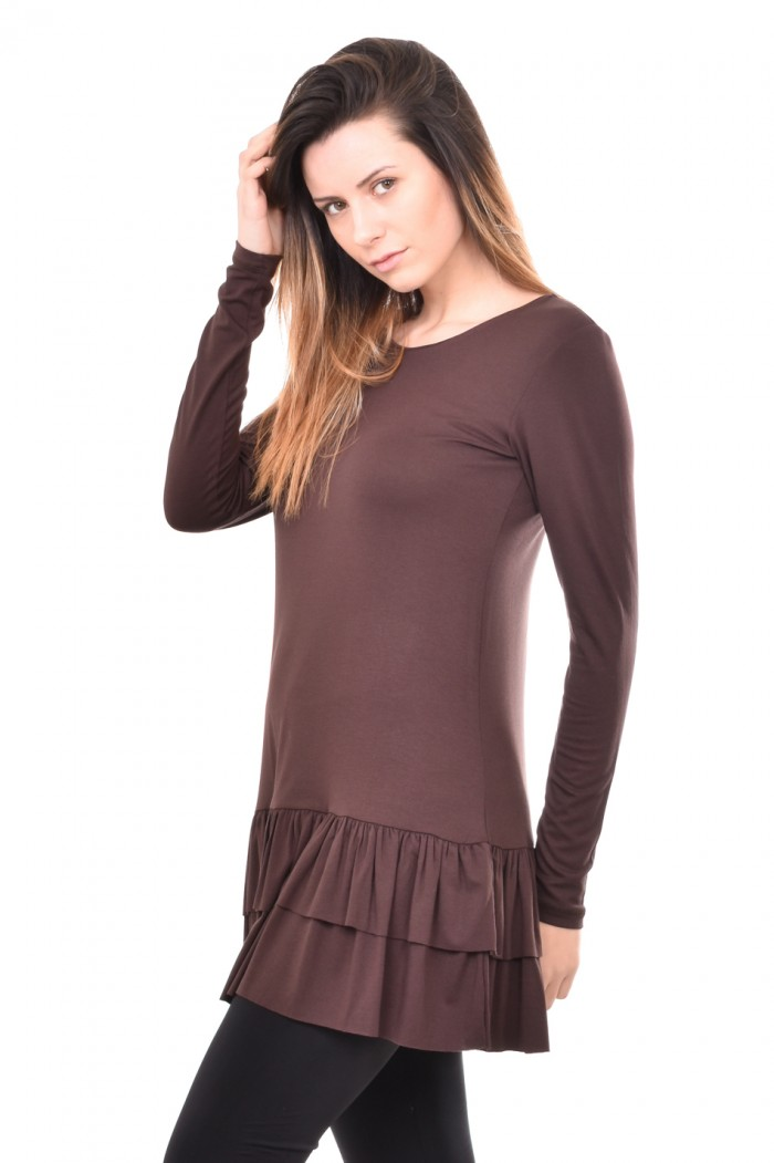 Stretchy tunic in brown Zerina