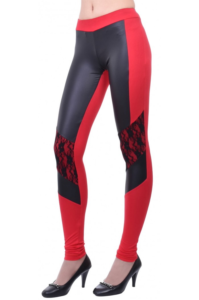 Makrina Leggings with Faux Leather