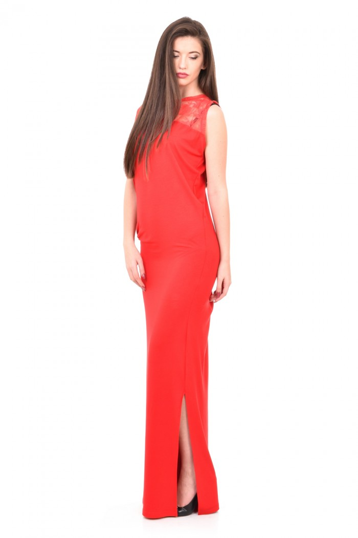 Formal long dress in red Adina