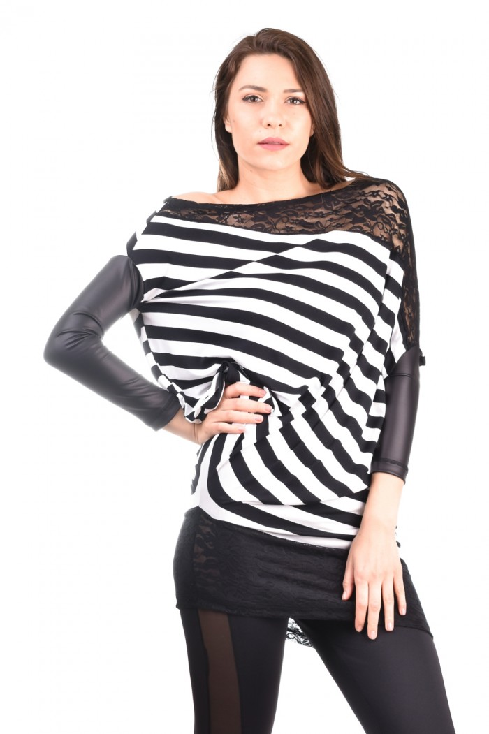 Black and white striped tunic Garsiyana