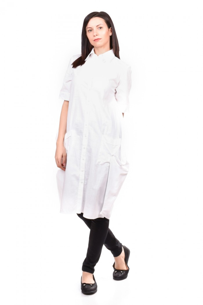 Linen - Tunic-Shirt in White Driana