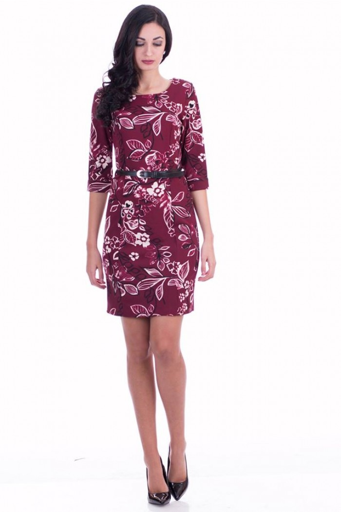 Dress with White Floral Motives