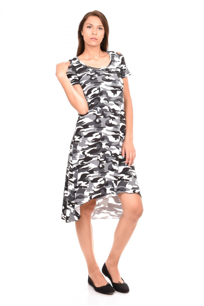 Dress of gray camouflage Adriana-Maria