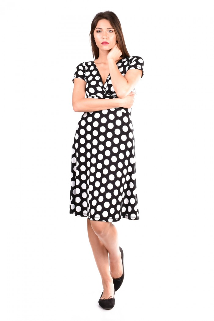 Dress With a Short Sleeve on White Dots Mihailena