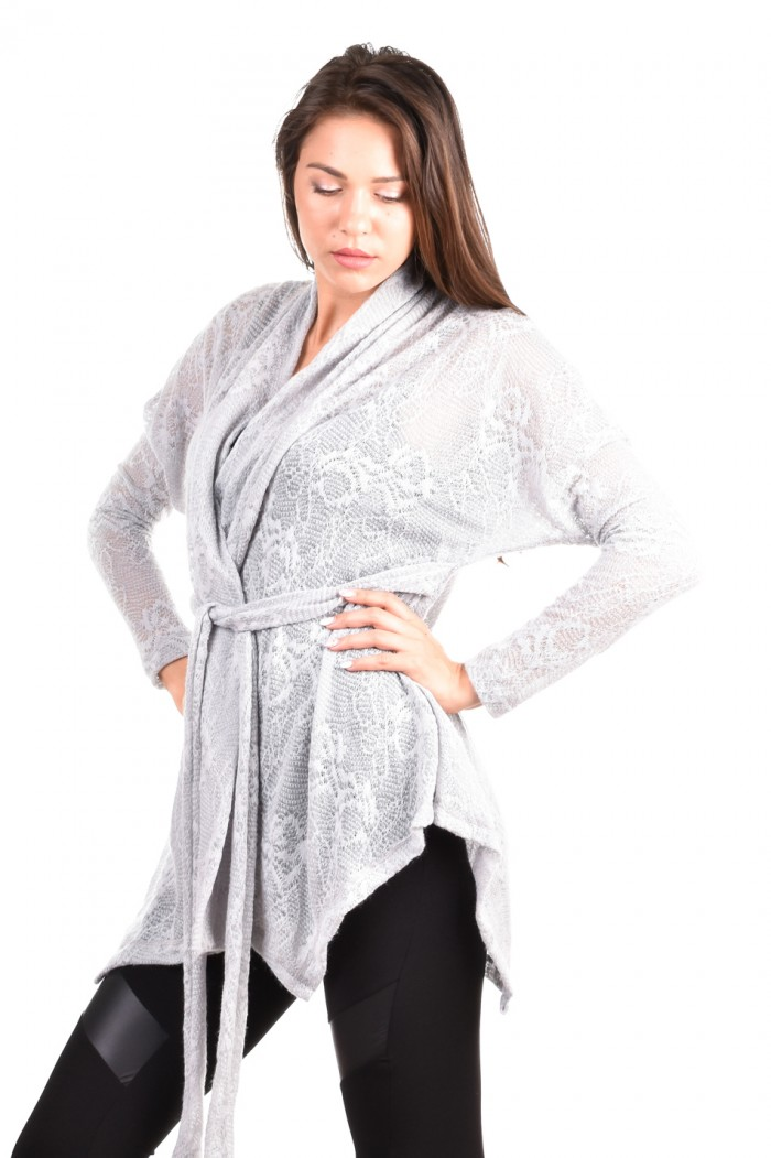 Gray knitted cardigan Lusiana