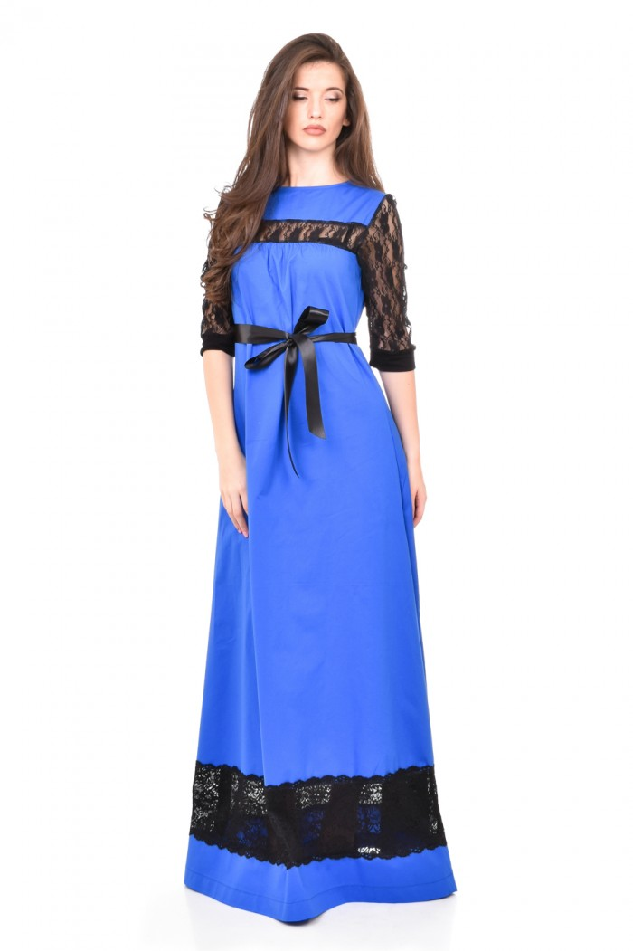 Dark blue long dress Karina-Nikol