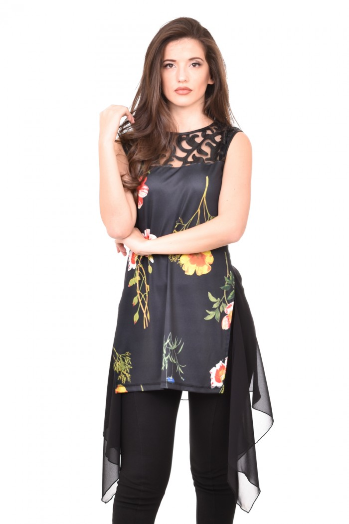 Floral tunic with lace Teya