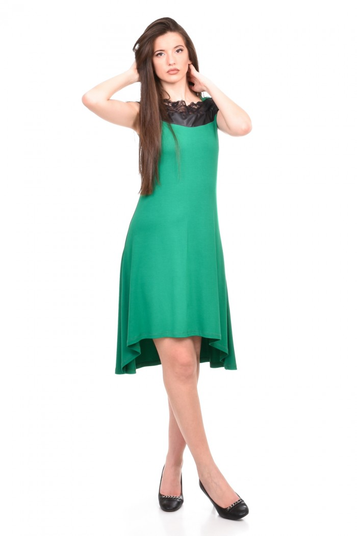 Green dress with lace Zenina