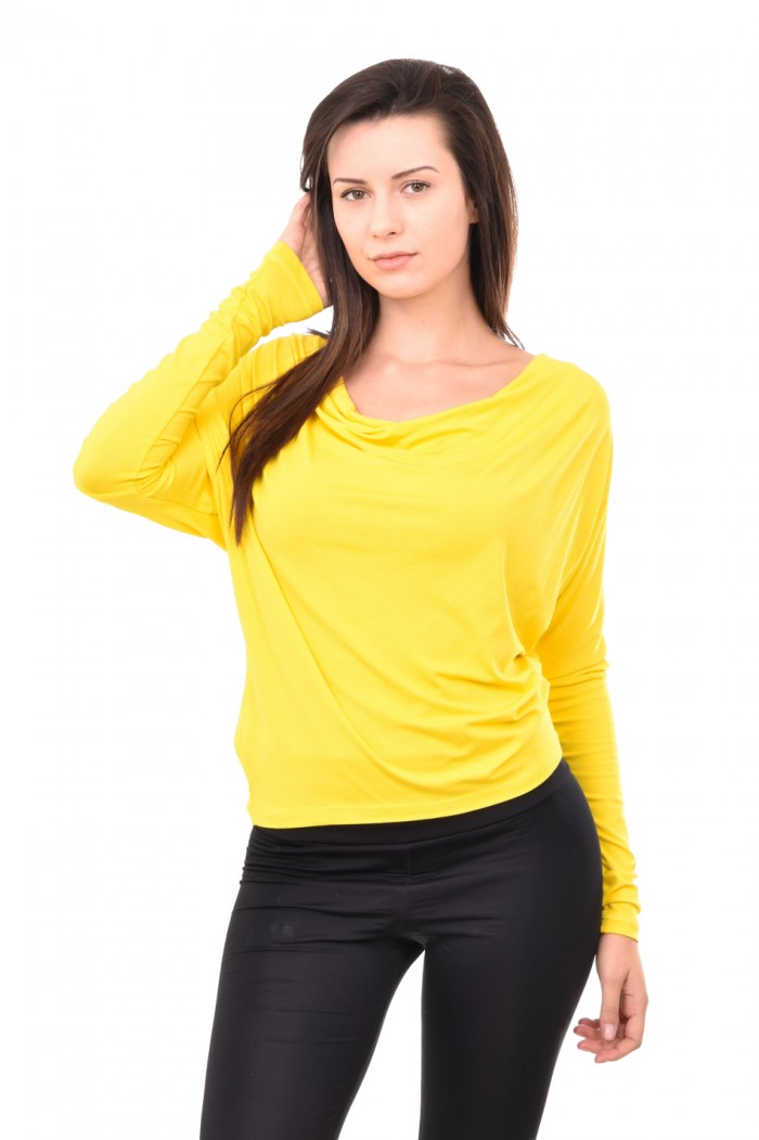 Yellow blouse with greek neckline Dona