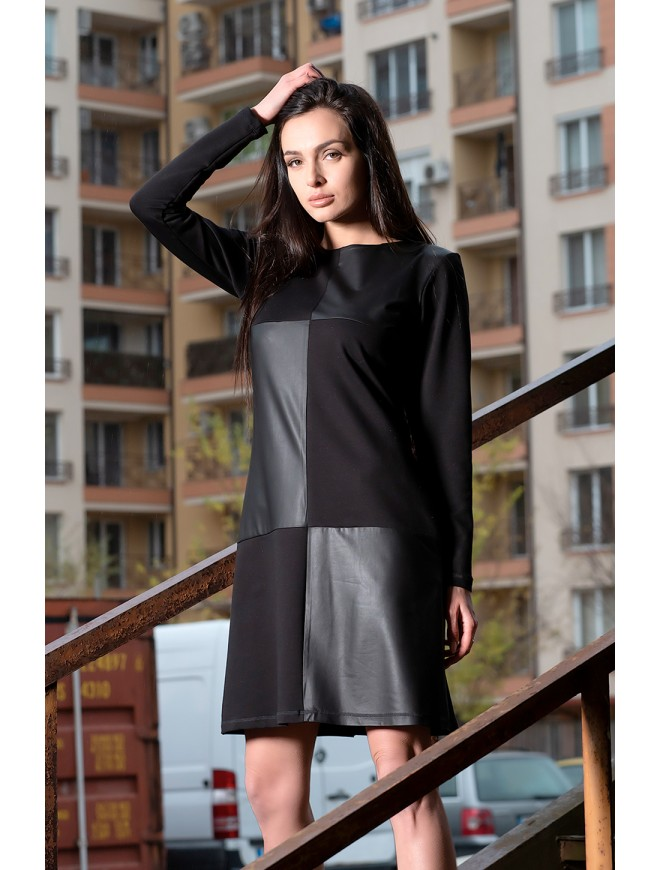 Black dress with leather details Roseina