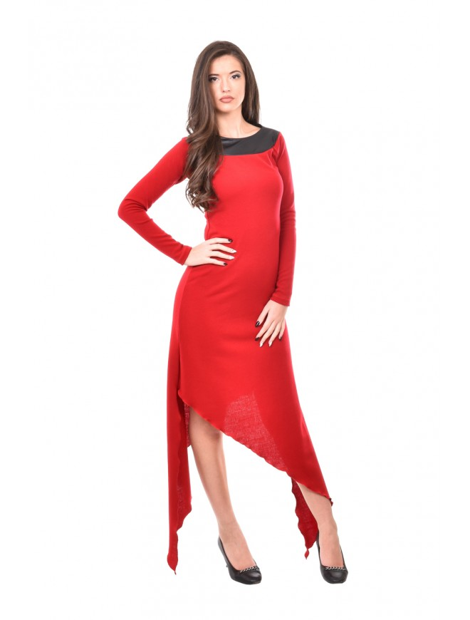 Asymmetric knitted dress in red Sharlot