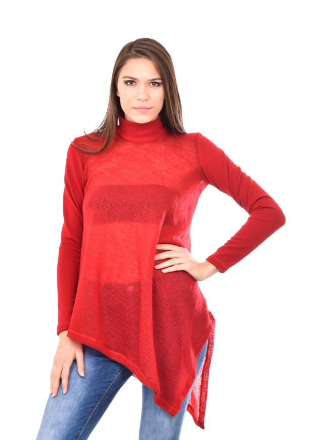 Asymmetric knitted tunic in red Arina