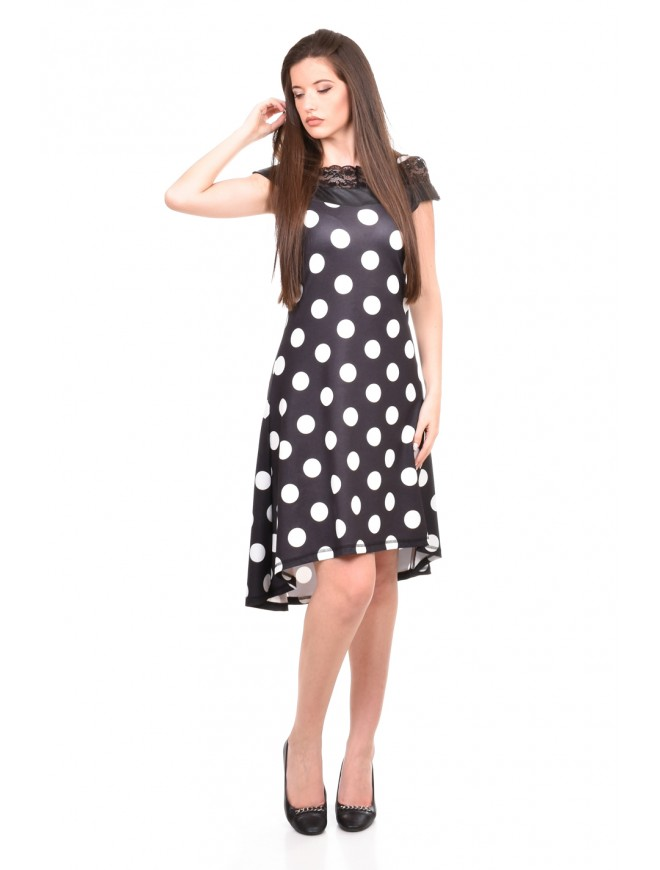 Asymmetric polka dot dress Zenina