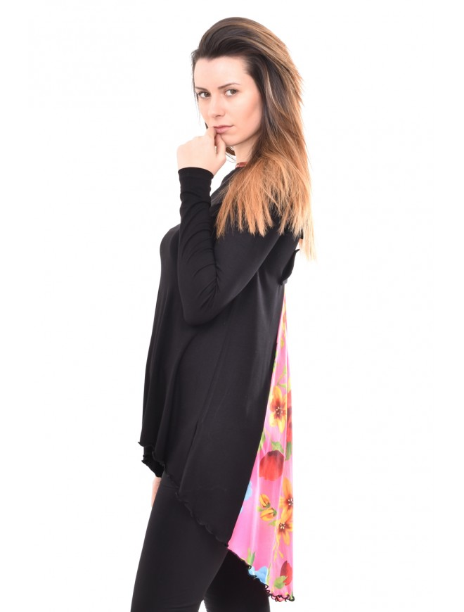 Asymmetric tunic in black and pink Andriana