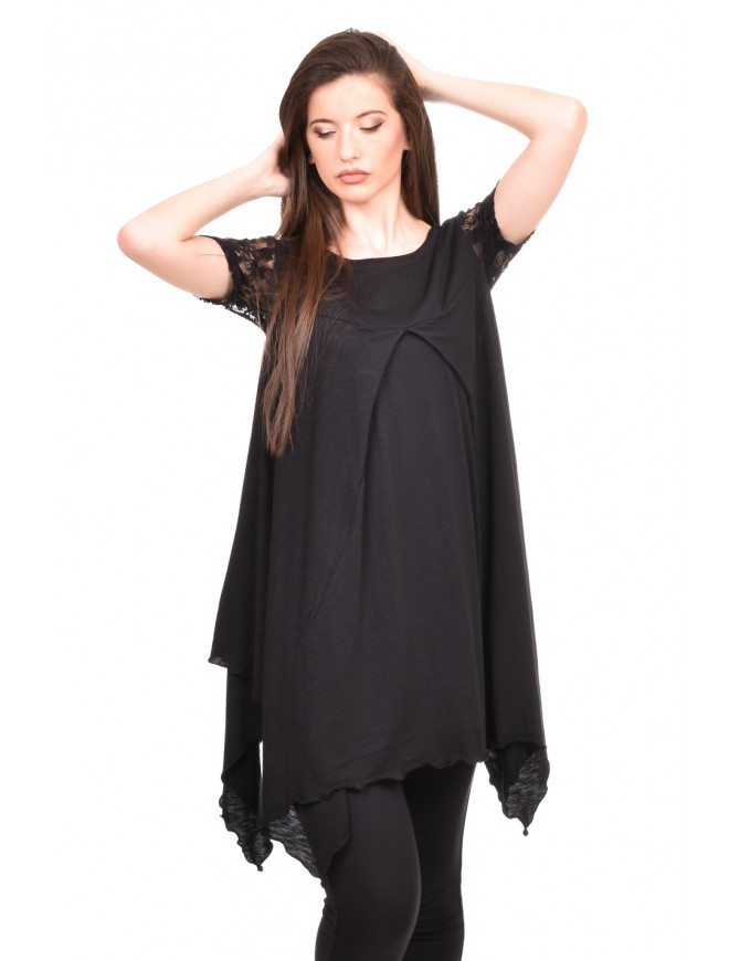 Asymmetric tunic in black Moreen