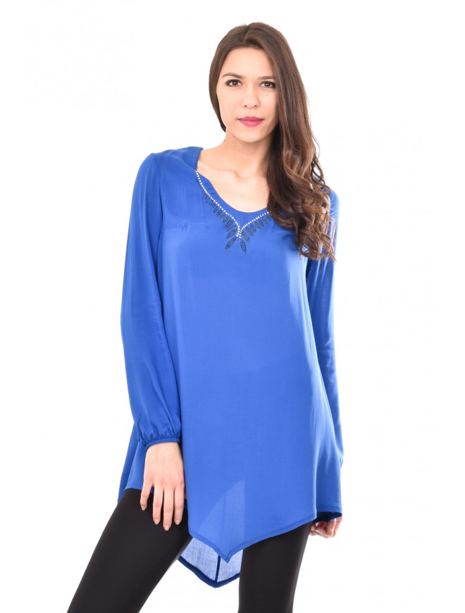 Asymmetric tunic in dark blue colour Aglika