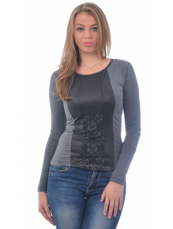 Lavina Dark Gray Blouse