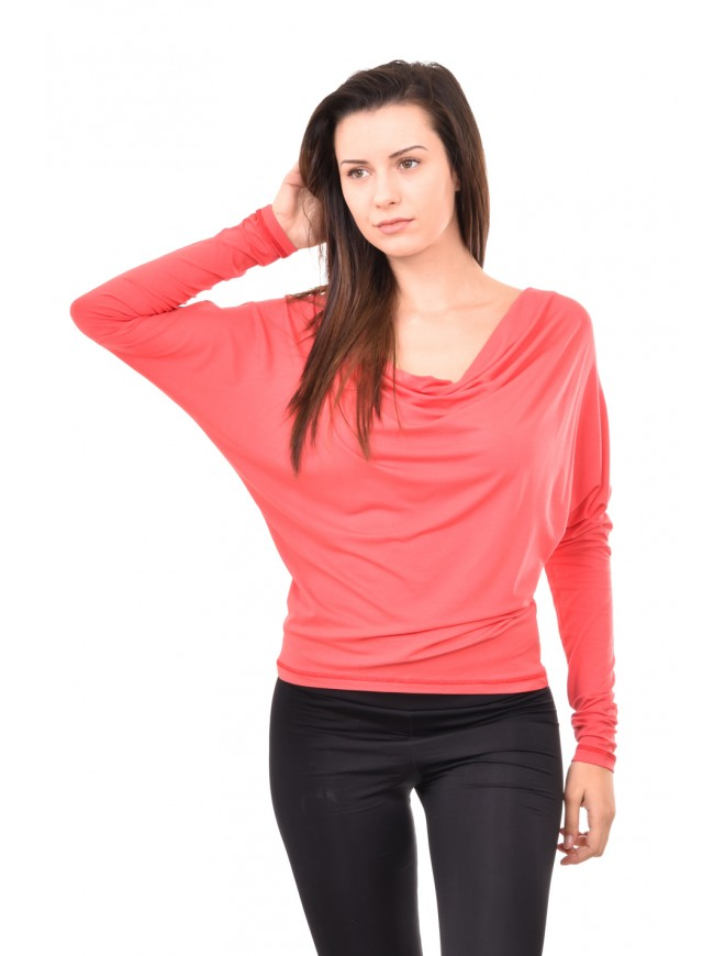 Blouse in watermelon colour with greek neckline