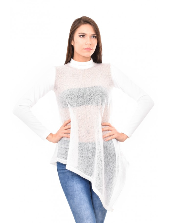White knitted tunic with long sleeves Arina