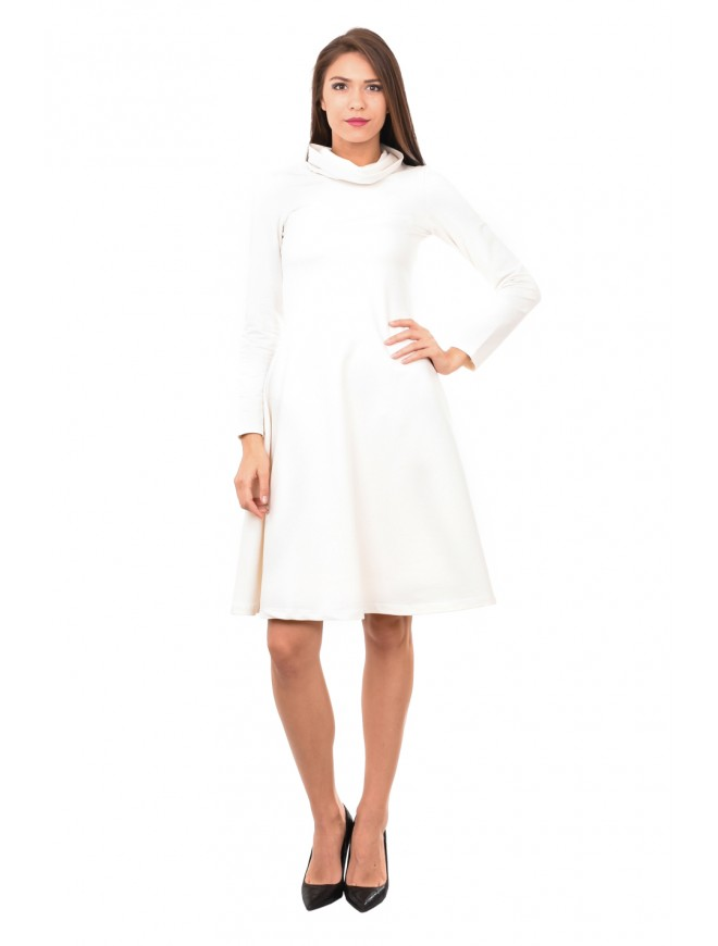 Polo neck dress in white Zvetomira