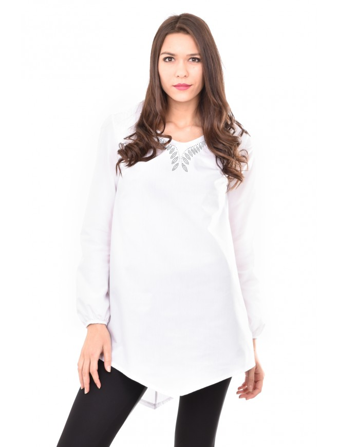 White tunic with rhinestones Aglika
