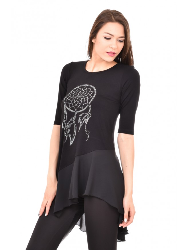 Black asymmetric tunic with rhinestones Aglena