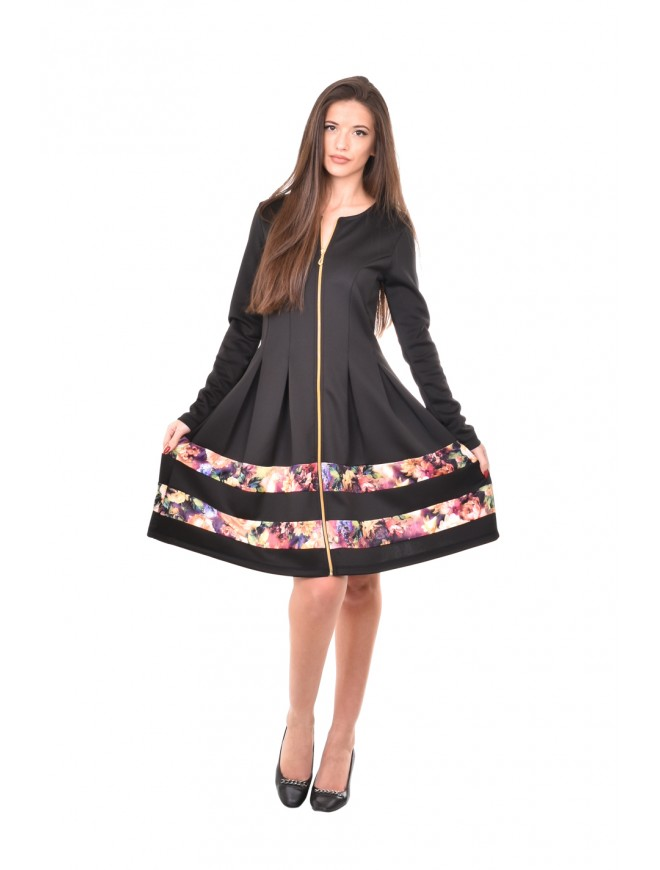 Black dress with floral element Hasinda