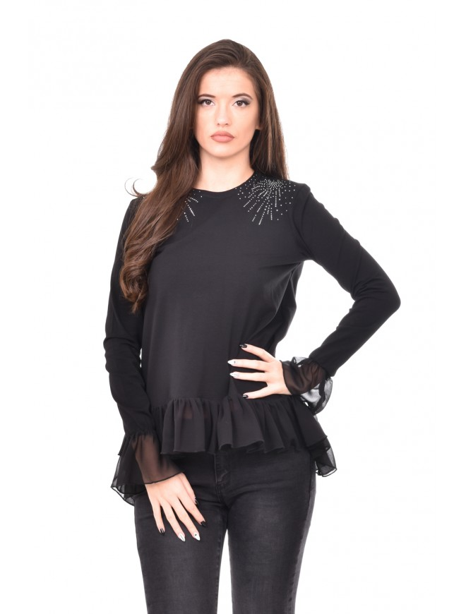 Black tunic with rhinestones Henia