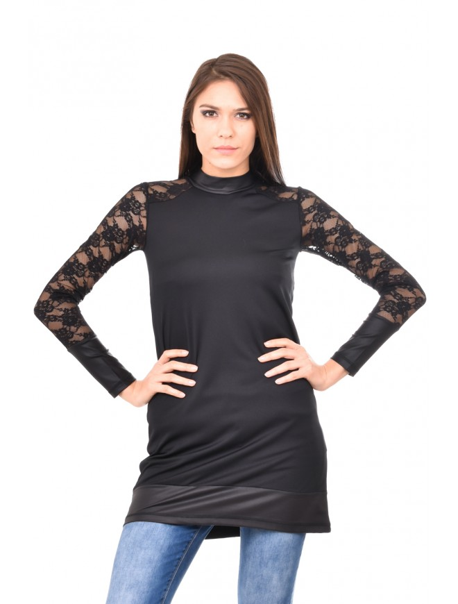 Black tunic with leather and lace Merinda