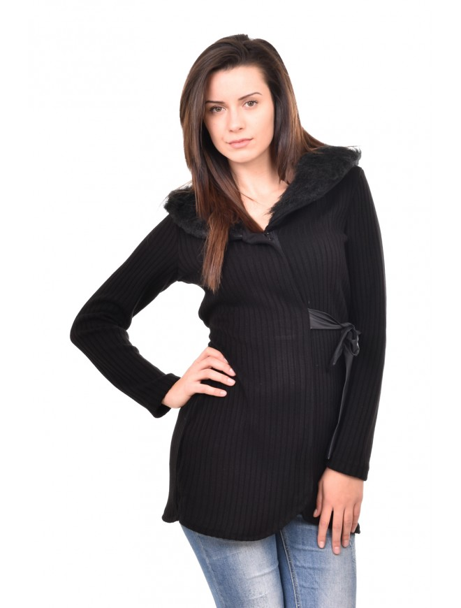 Black cardigan with collar and belt Denisa
