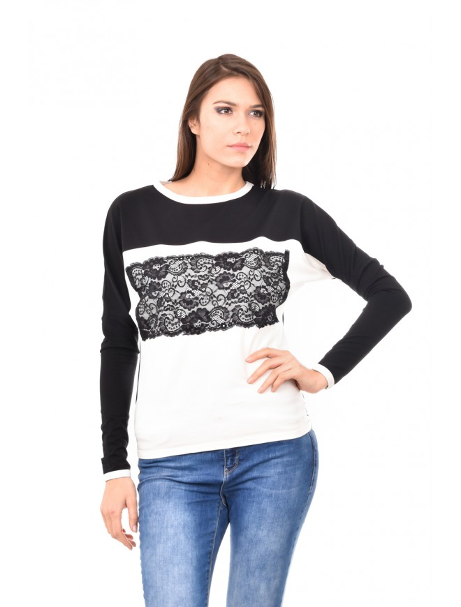 Black and white blouse with lace Selima