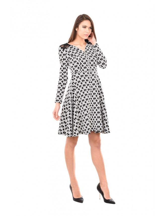 Black and white dress with zipper Beria