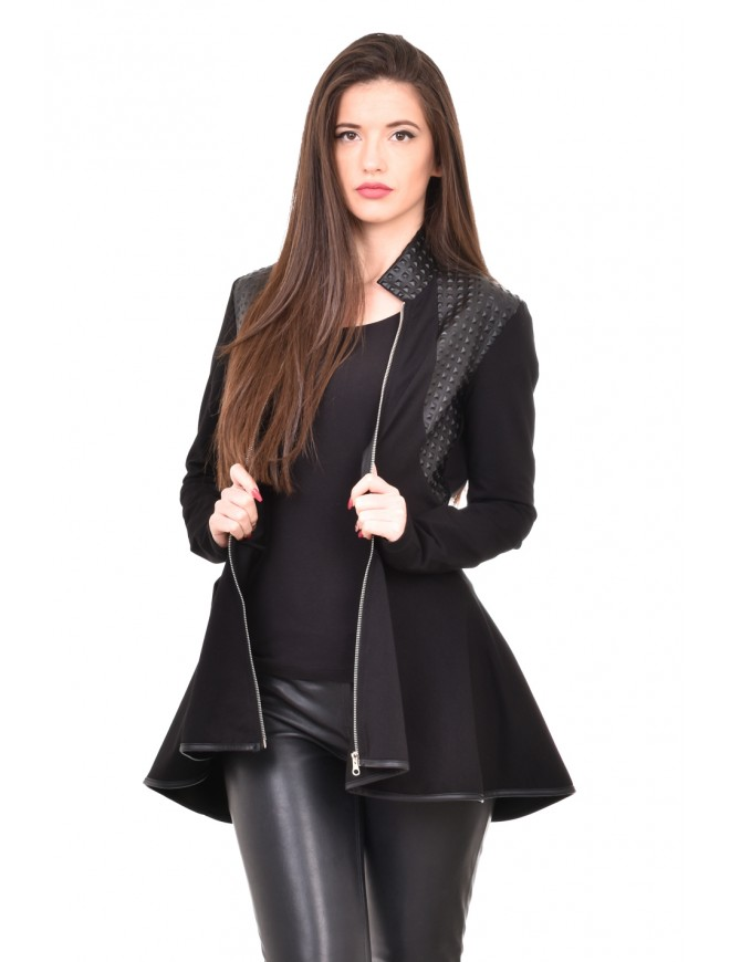 Black jacket with leather Dionisiya